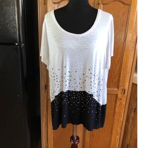 Avenue Black and White Beaded Top Size 18/20